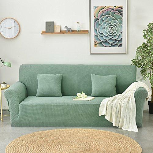 DW&HX Elastische einfarbige wasserdichte sofabezug,Schmutz-beweis Anti-rutsch Kombination-sofakissen Lattice Vier jahreszeiten sofa slipcover -Kiefer grün 2-sitzer (Kiefer Rocker)