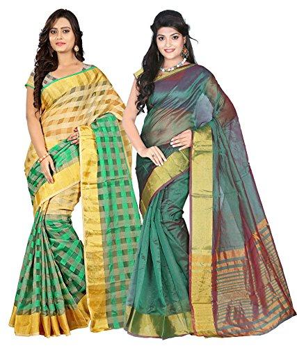 Poplin Pallu Sarees & Checks Net Manipuri Silk Sarees(POPLIN-PALLU-EVSTM0-1B_Multi Colour)