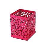 porte-stylo, Saim Maille en acier creux Fleur Rose Motif carré Home Office Desk support de pot Tasse Bureau Papeterie Organiseur Conteneur pour brosse de maquillage, crayons, surligneurs, règle Red