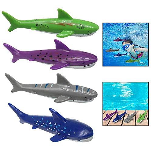 Xrten 4 Stücke Tauchen Spielzeug,Kinder Hai Unterwasser Spielzeug Schwimmbad Spielzeug -