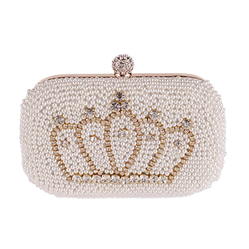 Strawberryer Sac De Dîner De Perle Sac à Main De Mode Embrayage Diamond Crown Banquet Inclus Sacs à Main Handle Portefeuilles Beige