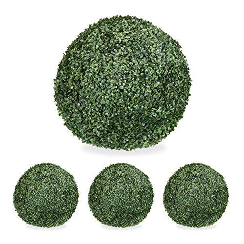 Relaxdays 4 x Buchsbaum künstlich, runde Dekopflanze, Buchsbaumkugel, Buchskugel Kunststoff, wetterfest, Kugel 38 cm Ø, grün