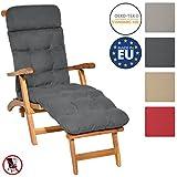 Beautissu Auflage für Deckchair Flair DC 200x50x8 cm Liege-Stuhl Polster-Auflage mit Schaumflockenfüllung Graphit-Grau