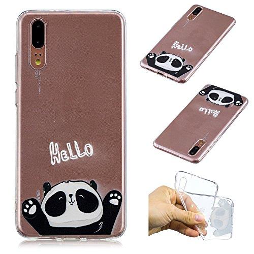 Kreativ Hülle für Huawei P20,Handyhülle für Huawei P20,Leeook Komisch Niedlich HELLO Panda Muster Entwurf Crystal Clear Silikon Schutzhülle Case TPU Bumper Cover Hülle Transparent für Huawei P20 + 1 x Schwarz Eingabestift
