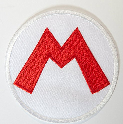 Kostüm Toad Mario Brothers - Super Mario M Logo Patch Embroidered Iron on Badge Aufnäher Kostüm Mario Kart/SNES/Mario World/Super Mario Brothers Allstars Cosplay