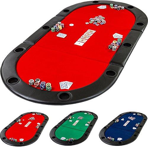 Preisvergleich Produktbild Deluxe faltbare Pokerauflage mit Tasche, 208x106x3 cm, MDF Platte, gepolsterte Armauflage, 10 Getränkehalter