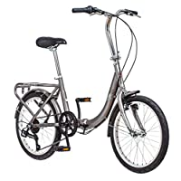 Schwinn Loop Adult Folding Bike, 20-inch Wheels, Rear Carry Rack, Silver