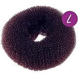 Y9734 - Donut para moño grande de color marrón - 10 cm de diámetro - Horquillas gomas Donut Moño - Castano