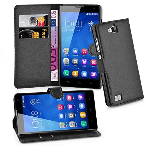 Preisvergleich Produktbild Cadorabo Hülle für Honor 3C - Hülle in PHANTOM SCHWARZ – Handyhülle mit Kartenfach und Standfunktion - Case Cover Schutzhülle Etui Tasche Book Klapp Style