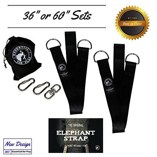 The Original éléphant Sangle Arbre Swing Sangles à suspendre kit & Heavy Duty matériel Idéal pour hamacs chaque Peut contenir de plus de 272,2 kilogram avec 2 sangles de 91,4 cm - 2 verrouillage de sécurité mousquetons - 1 pivotant et 1 sac de transport, 152,4 cm