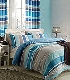 Catherine Lansfield–Cortinas con diseño de rayas doble juego de funda nórdica, color azul