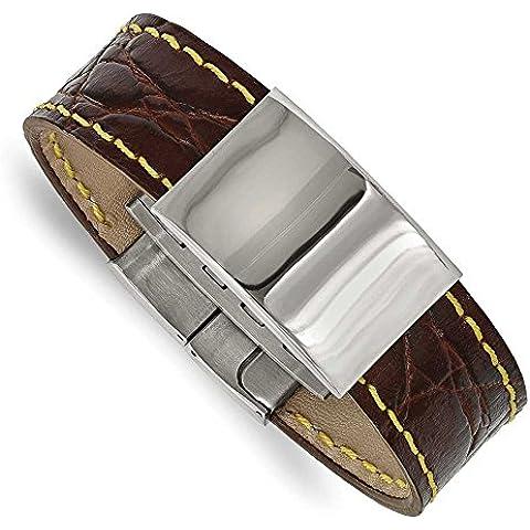 23,41 mm, in acciaio INOX lucido, in pelle, colore: marrone, giallo, punto 21,59 cm (8,5