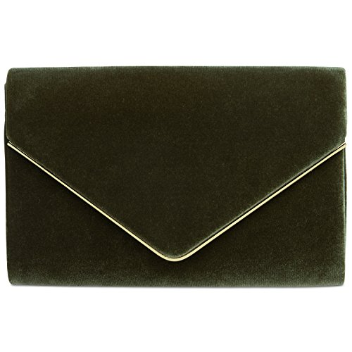 CASPAR TA375 Bolso de mano fiesta para mujer/Clutch elegante con cadena, Color:verde oliva;Tamaño:...