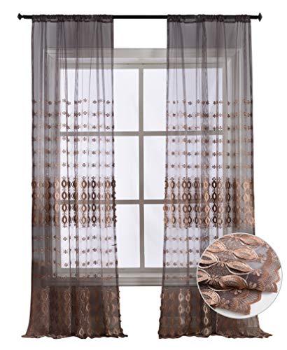 Chiffon Sheer Blush (BW0057 Vorhang mit Schmetterlingsstickerei, modern, modern, für Wohnzimmer, Schlafzimmer, Esszimmer (1 Panel, B 127 x L 213,4 cm), Weiß, Polyester-Mischgewebe, Purple3, 50W x 63L Inch, 1 Panel)