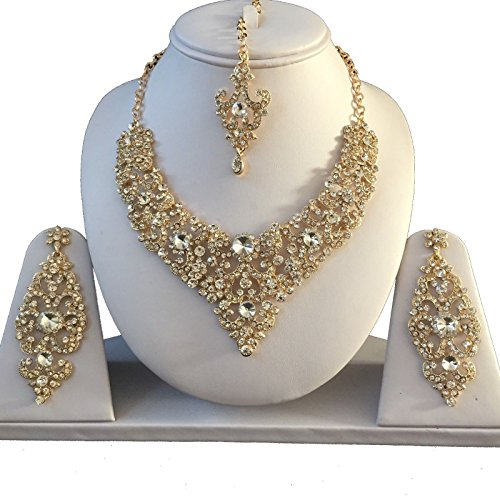chamak Gold Clear Bollywood Indian Inspired Crystal Studded Costume Jewellery Set with Necklace Earrings and a Head Chain 1