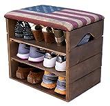 LIZA LINE SCHUHSCHRANK AUS HOLZ, SCHUHBANK, SCHUHREGAL (WALNUSSBRAUN), mit Gepolstertem Sitz und textilbeschichtet. Lagern und ordnen Sie Fußbekleidung: Schuhe, Stiefel, Sneakers. Nordische Massivholz - 51 x 45 x 36 cm (Retro USA Flagge)