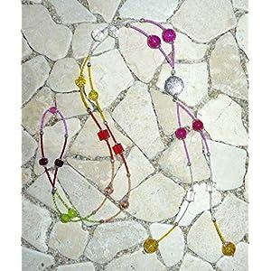 lange Y – Kette – pink, kristall, gelb, rot, orange & grün –