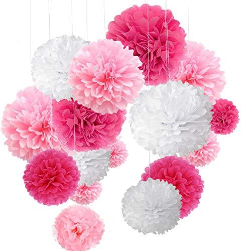 o Bunt Seidenpapier Pompons für Hochzeit, Geburtstag, Party Rot Rosa Weiß (3pcs*30.5cm/6pcs*25cm/6pcs*15.5cm) ()