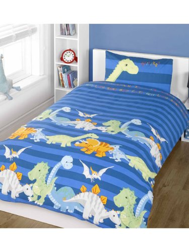 Dinosaurs Blue Single Duvet Cover + Dinosaurs Glow in the Dark Wall Stickers by Generic