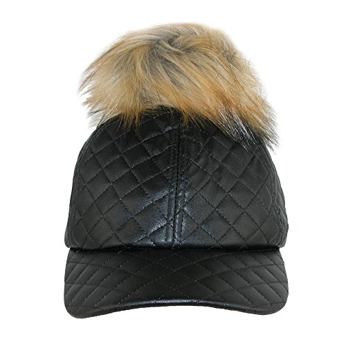 2f0e9c541 Pia Rossini Women's Quilted PU Cap with Faux Fur Detachable Pom Pom, Black