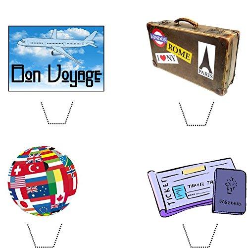 12 x Neuheit Bon Voyage / Reise mischen essbaren aufstehen Wafer Papier kuchen deckel