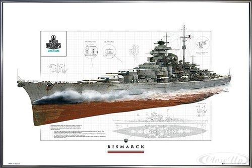 Close Up World of Warships Poster Schlachtschiff Bismarck (62x93 cm) gerahmt in: Rahmen anthrazit metallic