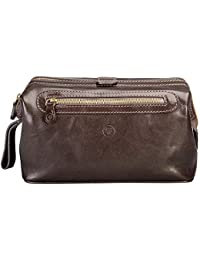 Maxwell Scott Italian Crafted Leather Large Travel Wash Bag - DunoL