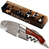 Professional Waiters Corkscrew by Barvivo - This Bottle Opener for Beer and Wine Bottles is Used by Waiters, Sommelier and Bartenders Around the World. Made of Stainless Steel and Natural Rosewood
