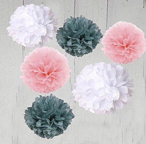 apier Pompons, Weiß Grau Baby Rosa Outdoor Dekoration Seidenpapier Pom Poms Party Bälle Hochzeit Weihnachten Weihnachts Dekoration (Weiß Grau Baby Rosa) (Weihnachten Seidenpapier)