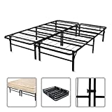 Todeco - Folding Bed Frame, Metal Bed Base - Material: Stainless steel - Adjustable: Can be split into two singles beds - Queen size, 78.7 x 58.3 x 14.2 inch