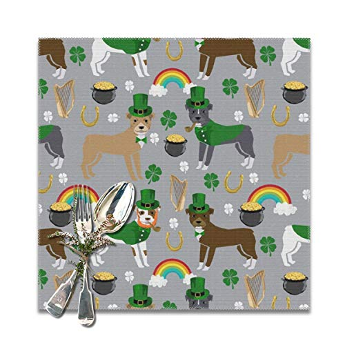 Funny&shirt Pitbull Leprechaun st Pattys Day st. Patricks Dog Design Grey Placemats for Dining Table,Washable Placemat Set of 6, 12x12 inches (Shirts Day St Patty)