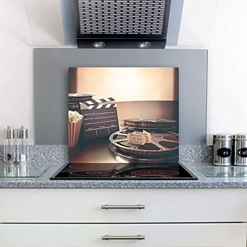 gsmarkt | Herdabdeckplatten Ceranfeldabdeckung Spritzschutz Glas 60x52 Kino Braun Retro X 60 Kino