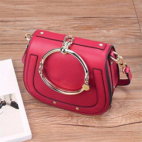 WanJiaMen'Shop Single Schulter obliquer Querschnitt Tasche Leder Ring Sattel Tasche Leder Lady Pack Schulter schräg Cross Fashion Vintage Tasche, rot -