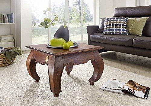 Table basse carrée 60x60cm - Bois massif d'acacia laqué - Inspiration Ethnique-Coloniale - OPIUM #612