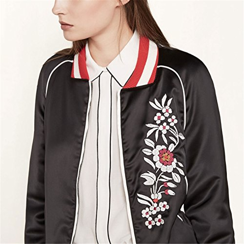 Blumen Embroidery Zip Up Collegejacke Bomberjacke Blouson Aviator Flight Jacket Jacke Oberteil Top Schwarz - 3