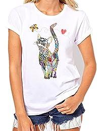 Loveso Sommer Tee Damen Buntes Katzen Schmetterlinge Muster Weißes Baumwollmischung T-Shirt