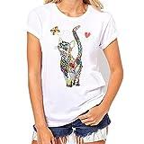 Loveso Sommer Tee Damen Buntes Katzen Schmetterlinge Muster Weißes Baumwollmischung T-Shirt ((Größe):42 (2XL), Weiß)