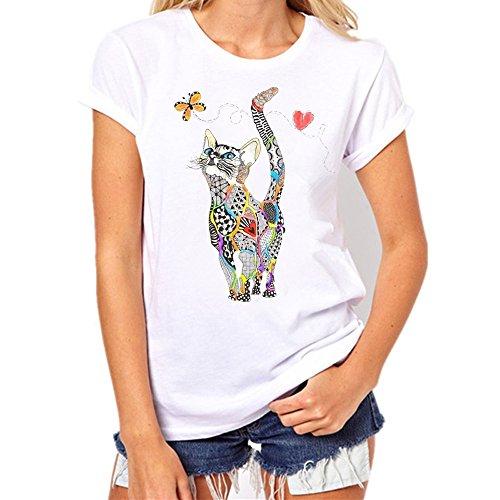 iHENGH Damen Top Bluse Bequem Lässig Mode T-Shirt Frühling Sommer Blusen Frauen Lose Oansatz Spitze der Art und Weisefrauen kurzärmliges Herz Druck(Weiß-10, M) (Frühlings-frauen-tops)