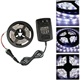 GALYGG DC12V White SMD 2835 Non-Waterproof LED Strip Lights With 2A Power Adapter,16.4ft/5m 300 Units,Tape Light For Garden,Home,Kitchen,Car,Bar Lighting