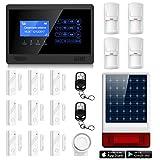 ERAY M2BX Sistema de Alarma GSM, Sirena Solar Inalámbrica Incuida, LCD Pantalla de Menú y Voz en Castellano, App Gratuita para iOS/ Android, Antirrobo para el Hogar/ Oficina, Multi-Accesorios y Pilas Incluidas