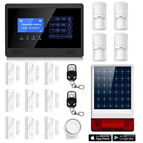 Foto de ERAY M2BX Sistema de Alarma GSM, Sirena Solar Inalámbrica Incuida, LCD Pantalla de Menú y Voz en Castellano, App Gratuita para iOS/ Android, Antirrobo para el Hogar/ Oficina, Multi-Accesorios y Pilas Incluidas