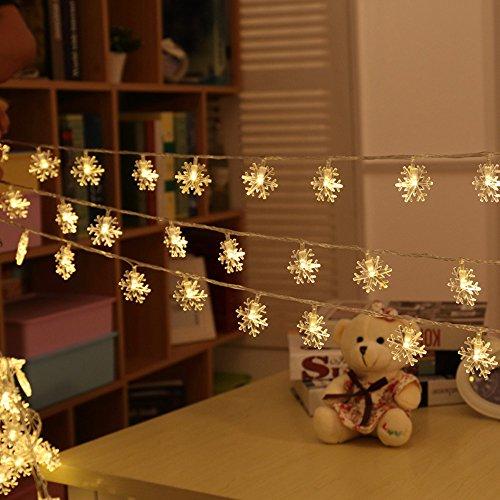 KEEDA Schneeflocke LED Lichterkette, 10M/33ft 100er Garten Lichterkette  Beleuchtung, Außenbeleuchtung/ Außen