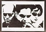 The Matrix Neo Trinity And Morpheus Poster Handmade Graffiti Street Art - Artwork