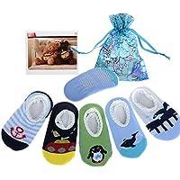 Yantu–5paia neonato Toddler antiscivolo antiscivolo Calze + sacchetto regalo + Card, strisce No-Show Calzini Barca footsocks Sneakers, lunghezza 9–15cm/9–5,9pollici per 6–18mesi