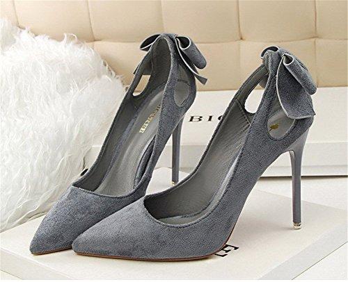 Wealsex Escarpin suédé Noeud Bout Pointu Talon Haute Aiguille 10.5 CM Chaussure Soirée Mariage Club Mode Sexy Femme Gris