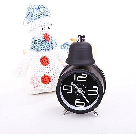 Los estudiantes creativos ZHGI luminoso silencio pequeña campana relojes con alarma, cama de niño y precioso reloj de cuarzo de la personalidad , negro