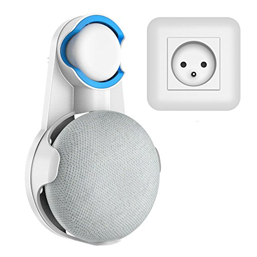 SPORTLINK Socket Wall Mount Stand Hanger for Google Home Mini Voice Assistants, Compact Holder Case Plug in Kitchen Bathroom Bedroom, Hides The Google Home Mini Cord (Blanco)