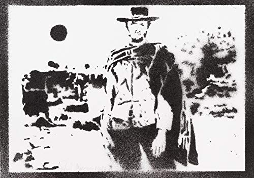 Póster Clint Eastwood Western Grafiti Hecho A Mano - Handmade Street Art - Artwork