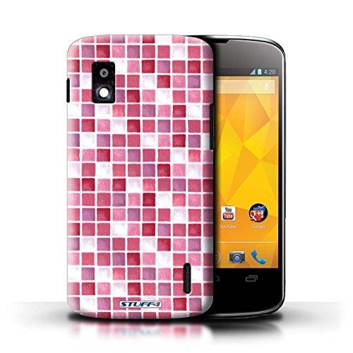 Kobalt® Imprimé Etui / Coque pour LG Nexus 4/E960 / Vert/Rouge conception / Série Carreau Bain Rouge/Rose