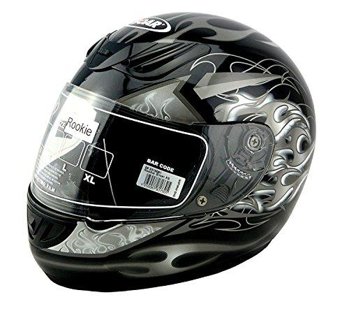 KED SOAR Motorradhelm Rookie, Black Silver Grey, Größe XS, auch für Go-Kart geeignet!